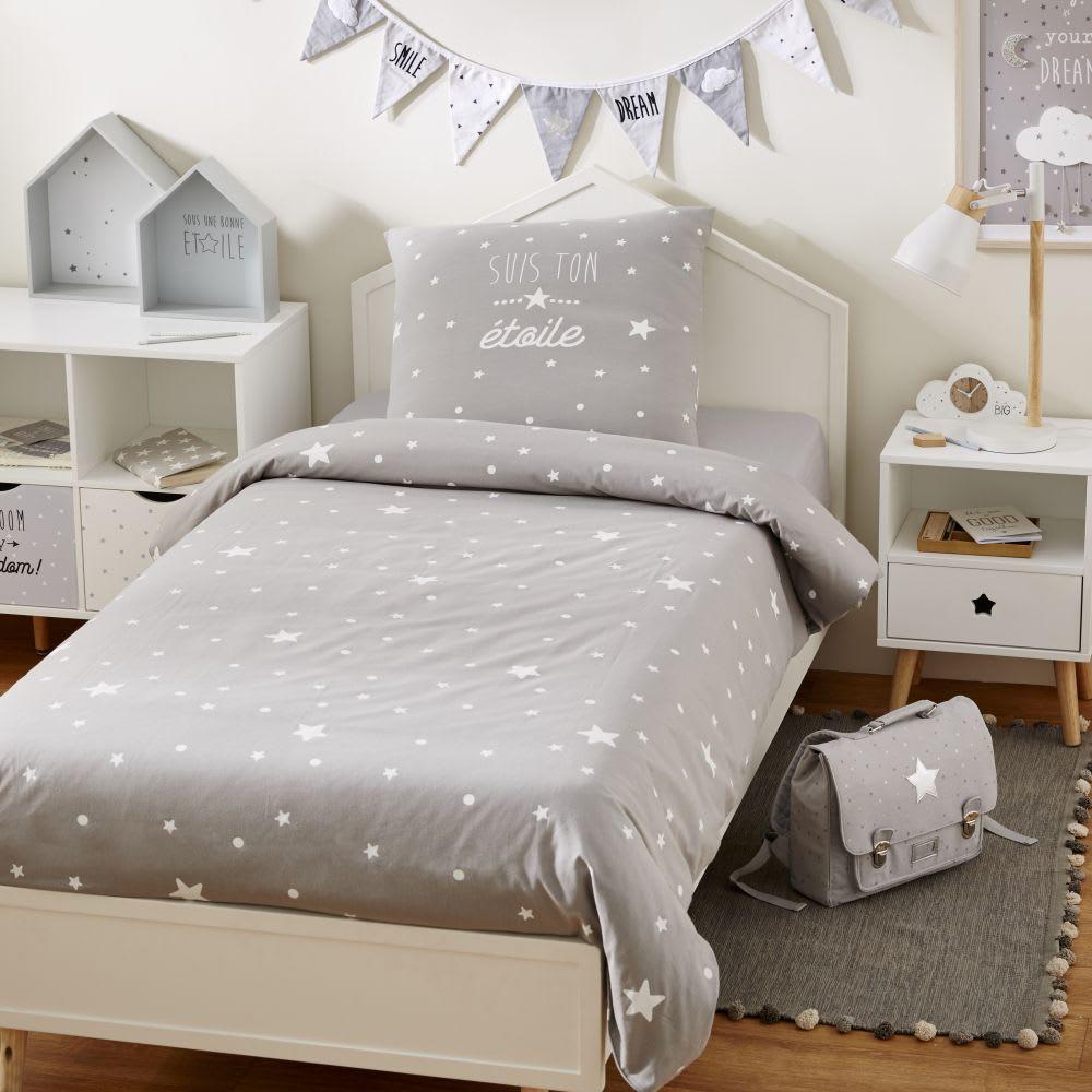 parure de lit enfant en coton gris imprim toiles. Black Bedroom Furniture Sets. Home Design Ideas