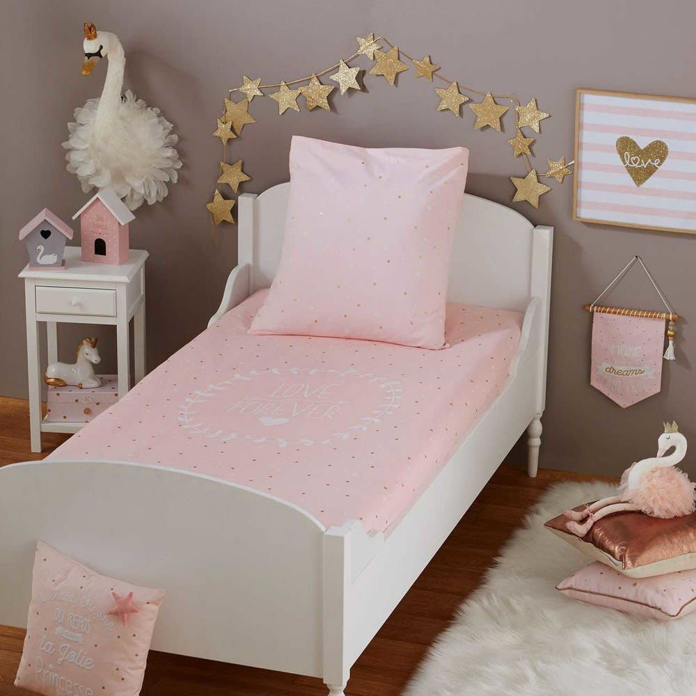 parure de lit enfant en coton imprim rose 140x200 lilly maisons du monde. Black Bedroom Furniture Sets. Home Design Ideas