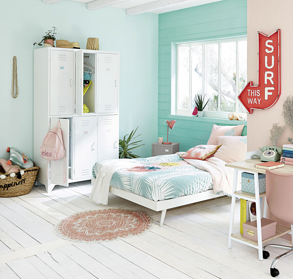 parure de lit enfant en coton imprim rose vert et blanc. Black Bedroom Furniture Sets. Home Design Ideas