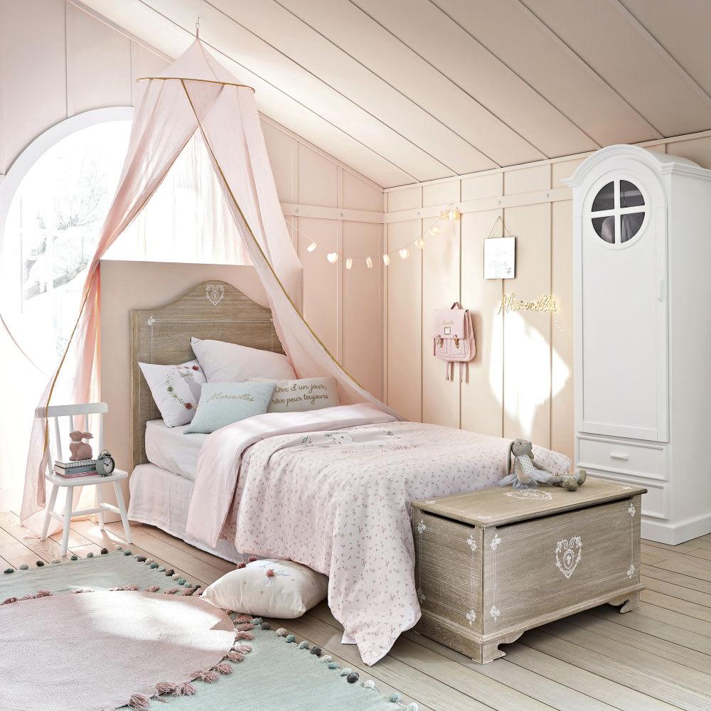 parure de lit enfant en coton rose 140x200 bucolique. Black Bedroom Furniture Sets. Home Design Ideas