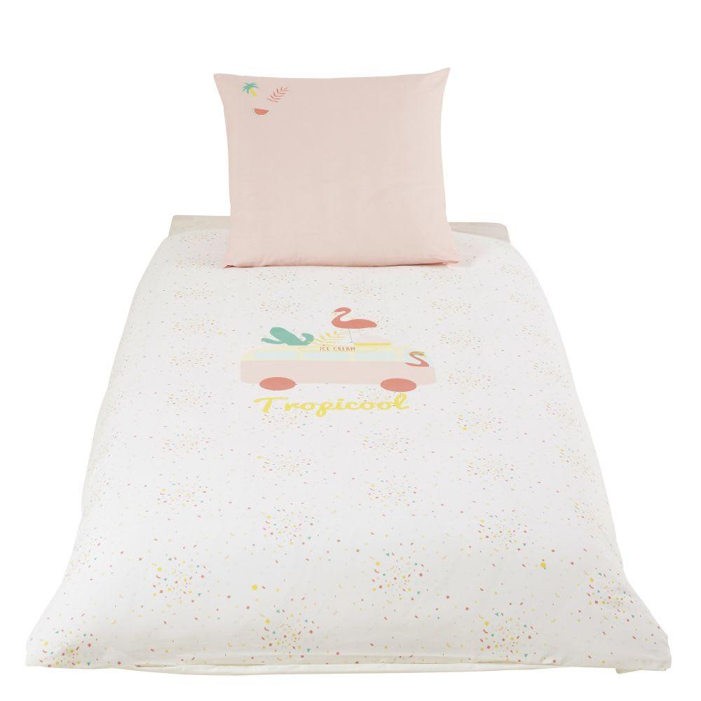 Parure de lit enfant en coton rose et blanc 140x200 Tropicool ...
