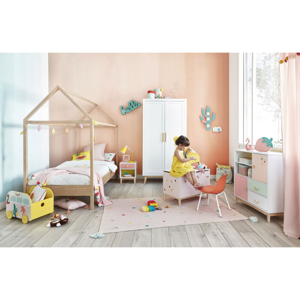 parure de lit enfant en coton rose et blanc 140x200. Black Bedroom Furniture Sets. Home Design Ideas