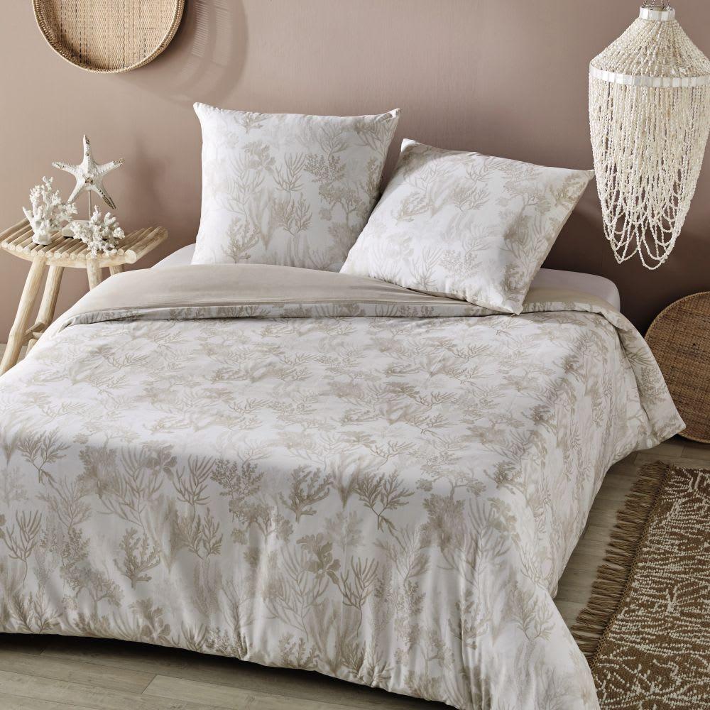 parure de lit r versible en coton cru imprim coraux. Black Bedroom Furniture Sets. Home Design Ideas