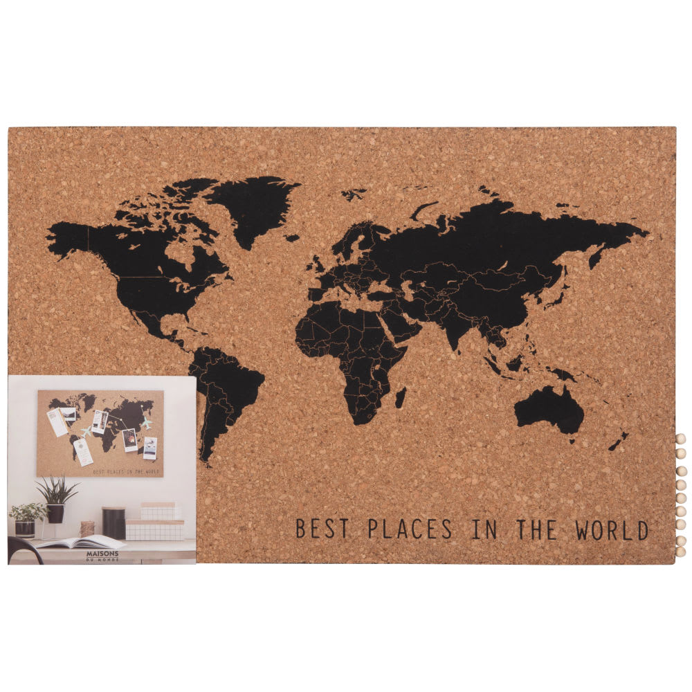 p le m le carte du monde en li ge marron et noir 60x40 maisons du monde. Black Bedroom Furniture Sets. Home Design Ideas