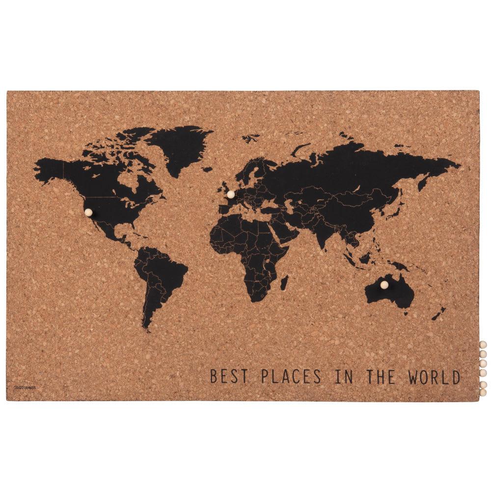 p le m le carte du monde en li ge marron et noir 60x40. Black Bedroom Furniture Sets. Home Design Ideas