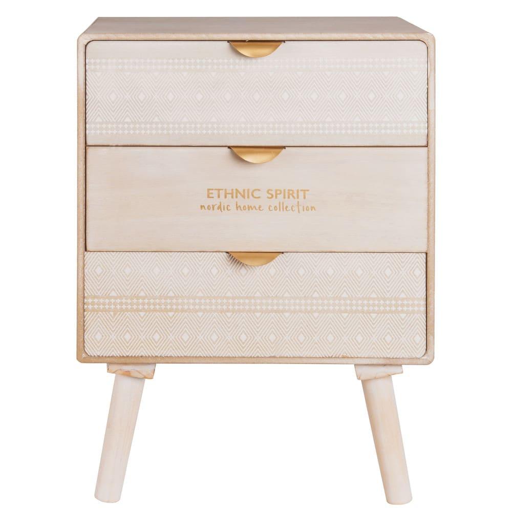 Petit meuble de rangement 3 tiroirs motifs ethnik maisons du monde - Petit meuble a tiroirs ...