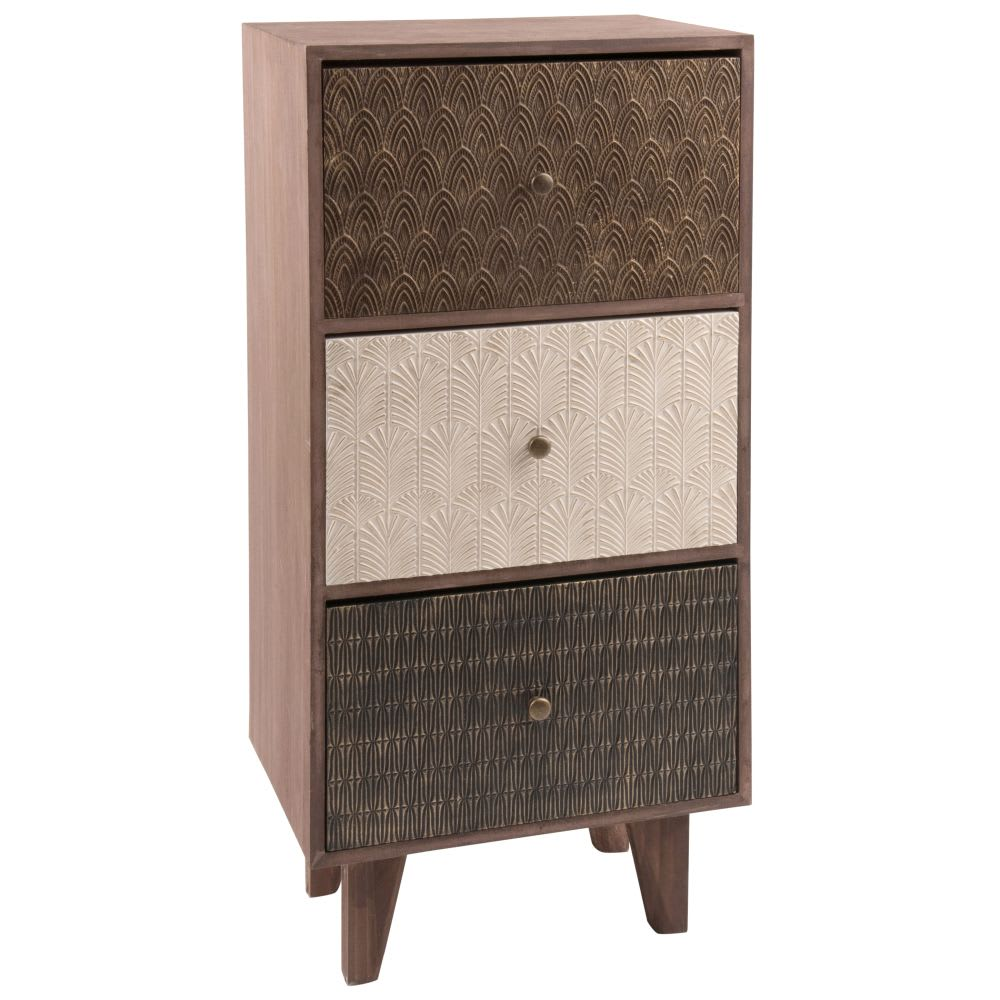 petit meuble de rangement 3 tiroirs motifs balimo. Black Bedroom Furniture Sets. Home Design Ideas