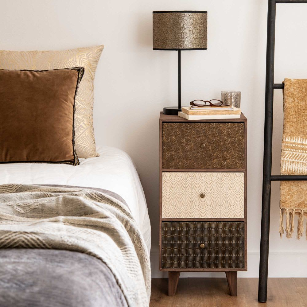 petit meuble de rangement 3 tiroirs motifs balimo. Black Bedroom Furniture Sets. Home Design Ideas