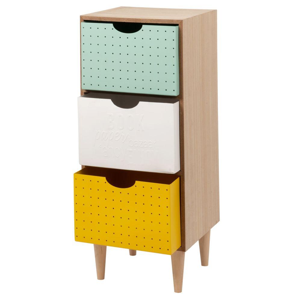 petit meuble de rangement 3 tiroirs color s fancy. Black Bedroom Furniture Sets. Home Design Ideas