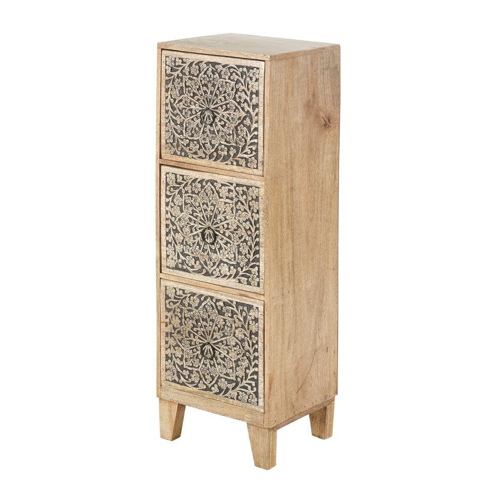 petit meuble de rangement 3 tiroirs en manguier grav. Black Bedroom Furniture Sets. Home Design Ideas