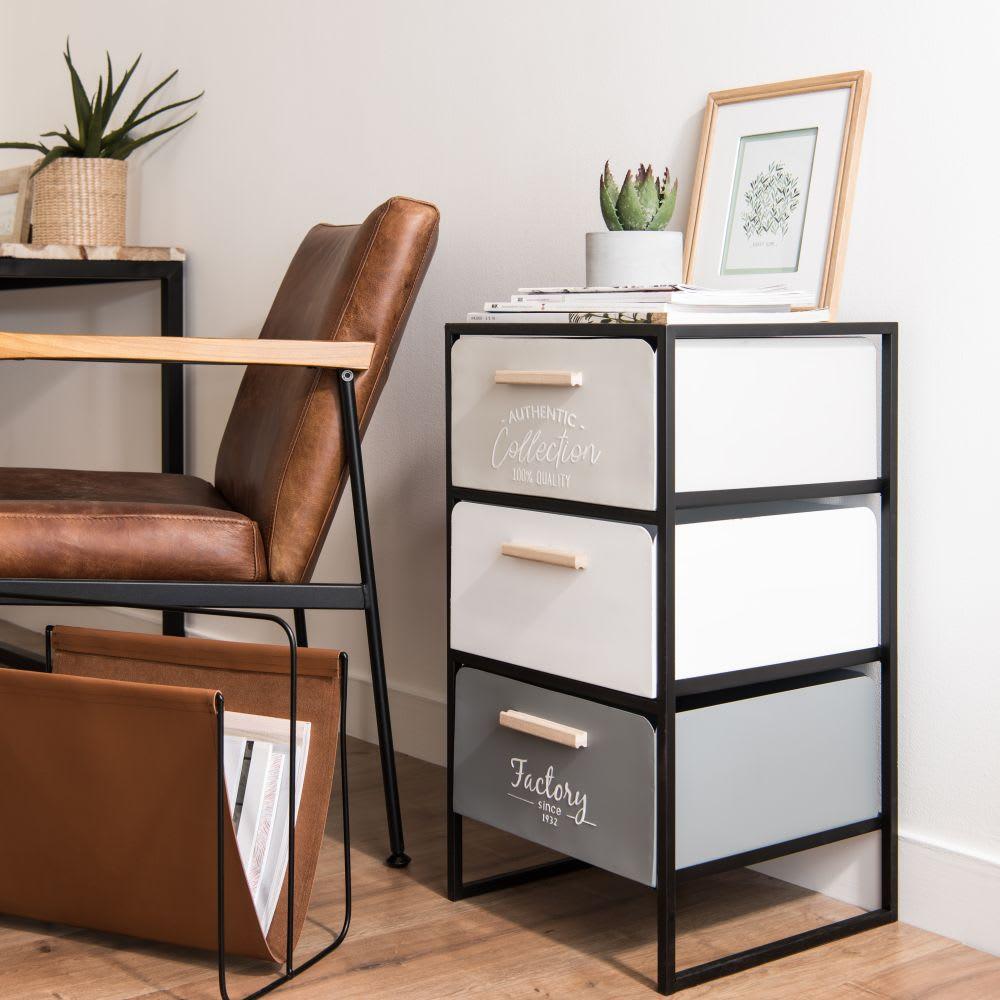 Petit meuble de rangement 3 tiroirs en m tal maisons du monde - Petit meuble a tiroirs ...