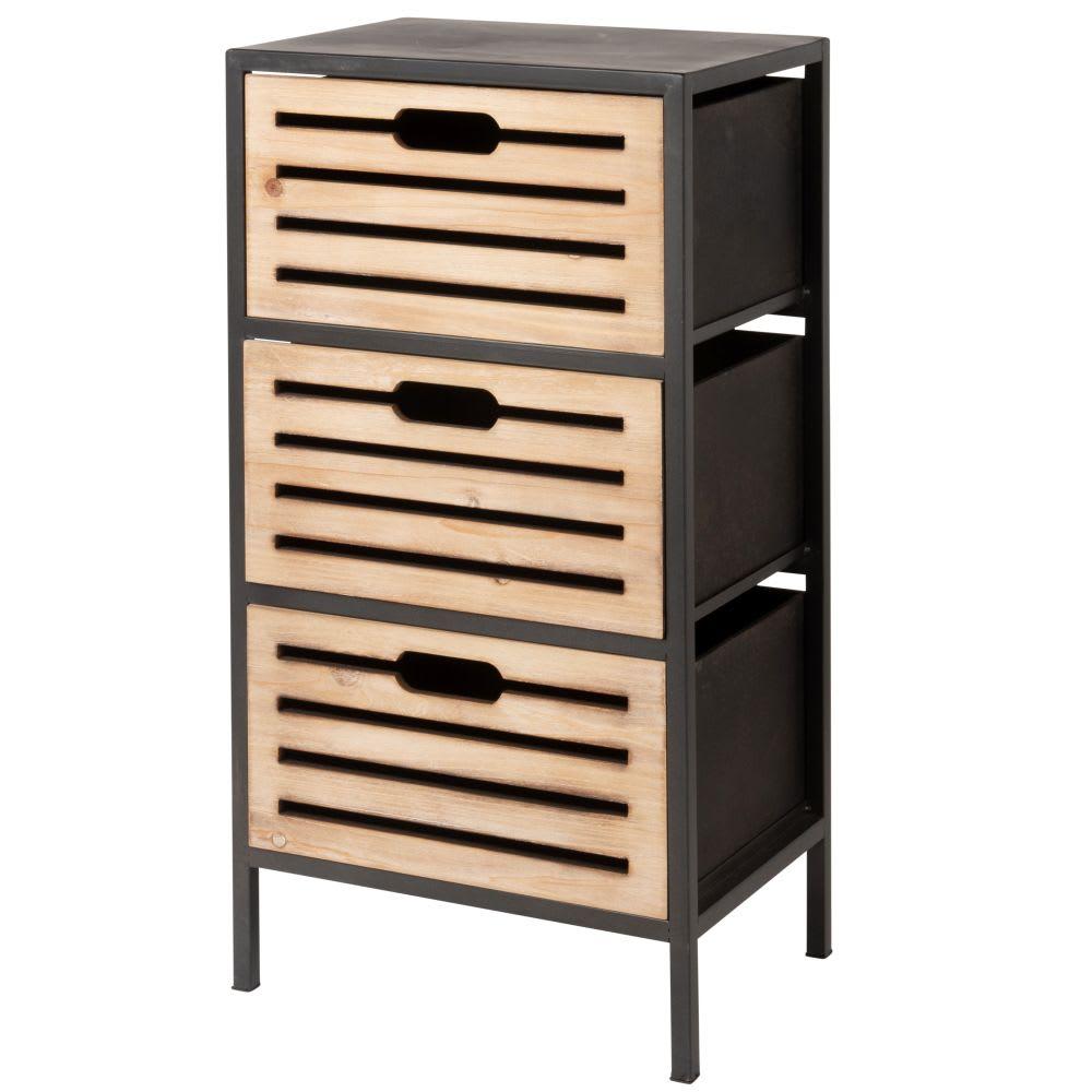 Petit meuble de rangement 3 tiroirs en métal Lupin | Maisons du Monde