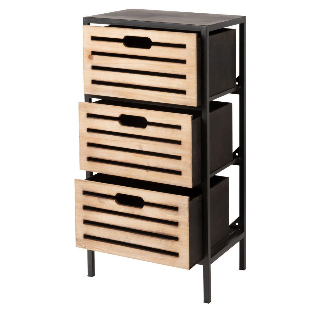 petit meuble de rangement 3 tiroirs en m tal lupin. Black Bedroom Furniture Sets. Home Design Ideas