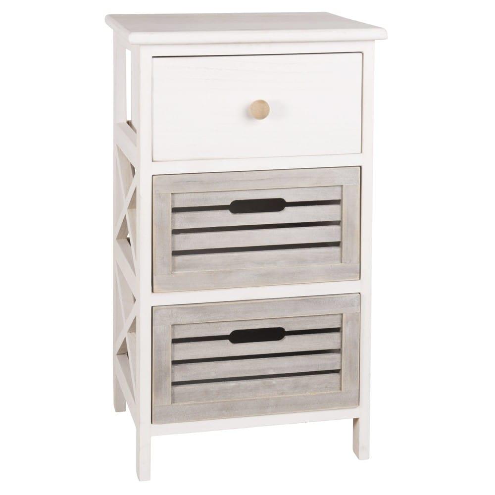 petit meuble de rangement 3 tiroirs en paulownia arzon. Black Bedroom Furniture Sets. Home Design Ideas