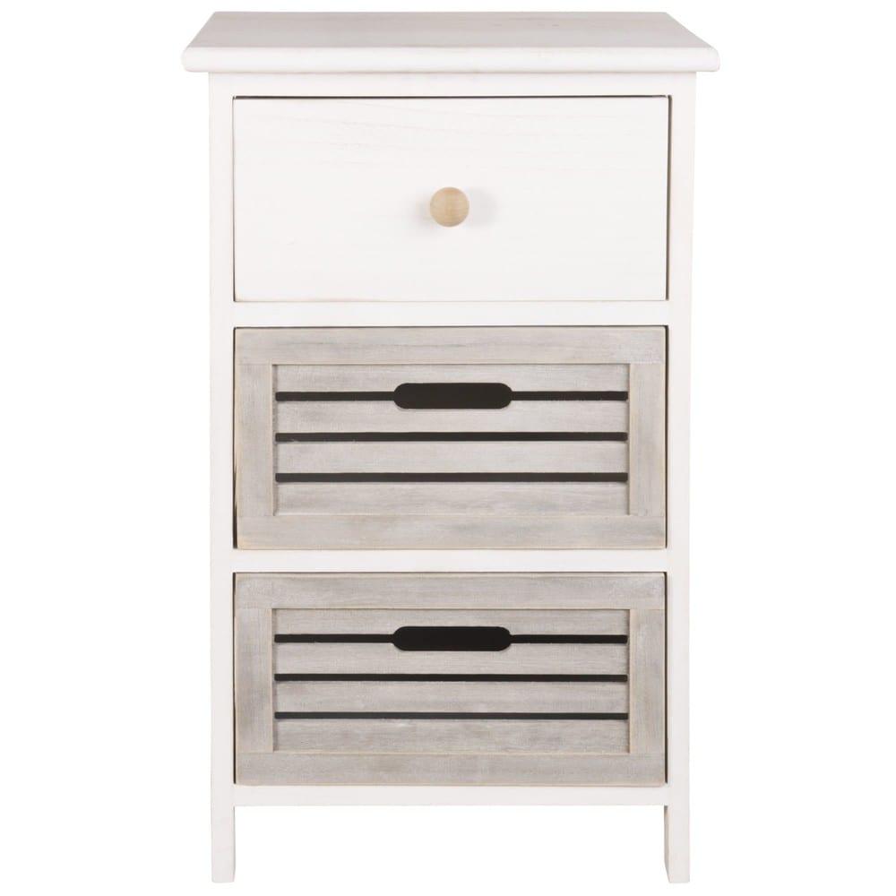 Petit meuble de rangement 3 tiroirs en paulownia Arzon   Maisons du Monde