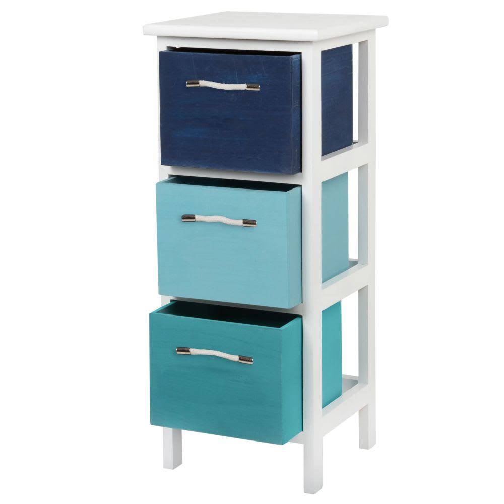 petit meuble de rangement 3 tiroirs en paulownia aderio. Black Bedroom Furniture Sets. Home Design Ideas
