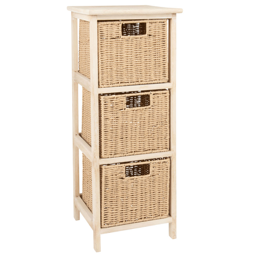 petit meuble de rangement 3 tiroirs en paulownia et fibre. Black Bedroom Furniture Sets. Home Design Ideas