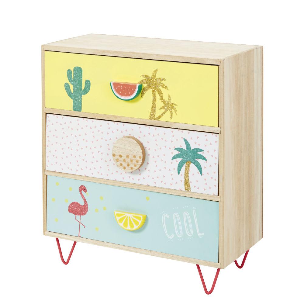 petit meuble de rangement 3 tiroirs imprim tropical tropicool maisons du monde. Black Bedroom Furniture Sets. Home Design Ideas