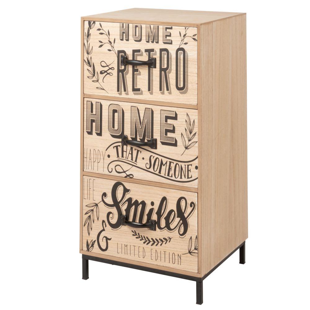 petit meuble de rangement 3 tiroirs imprim s pieds en. Black Bedroom Furniture Sets. Home Design Ideas
