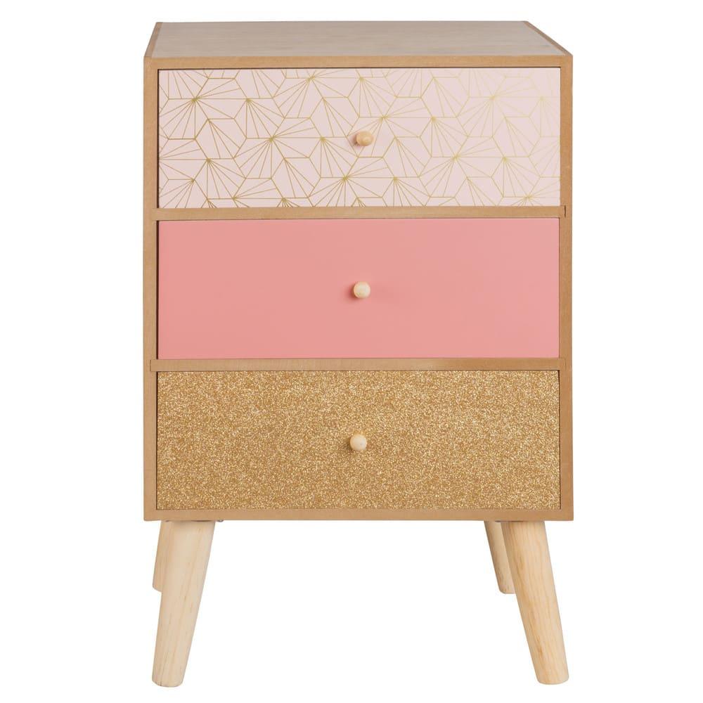 petit meuble de rangement 3 tiroirs rose et dor glitter. Black Bedroom Furniture Sets. Home Design Ideas