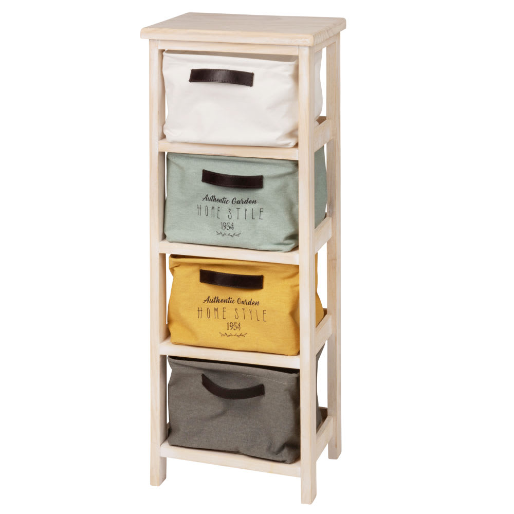 petit meuble de rangement 4 tiroirs en pin acacia. Black Bedroom Furniture Sets. Home Design Ideas