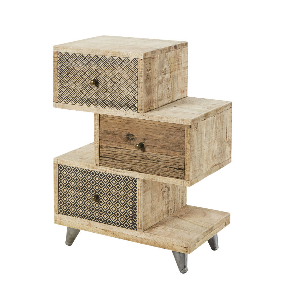 petit meuble de rangement en manguier et bois recycl. Black Bedroom Furniture Sets. Home Design Ideas