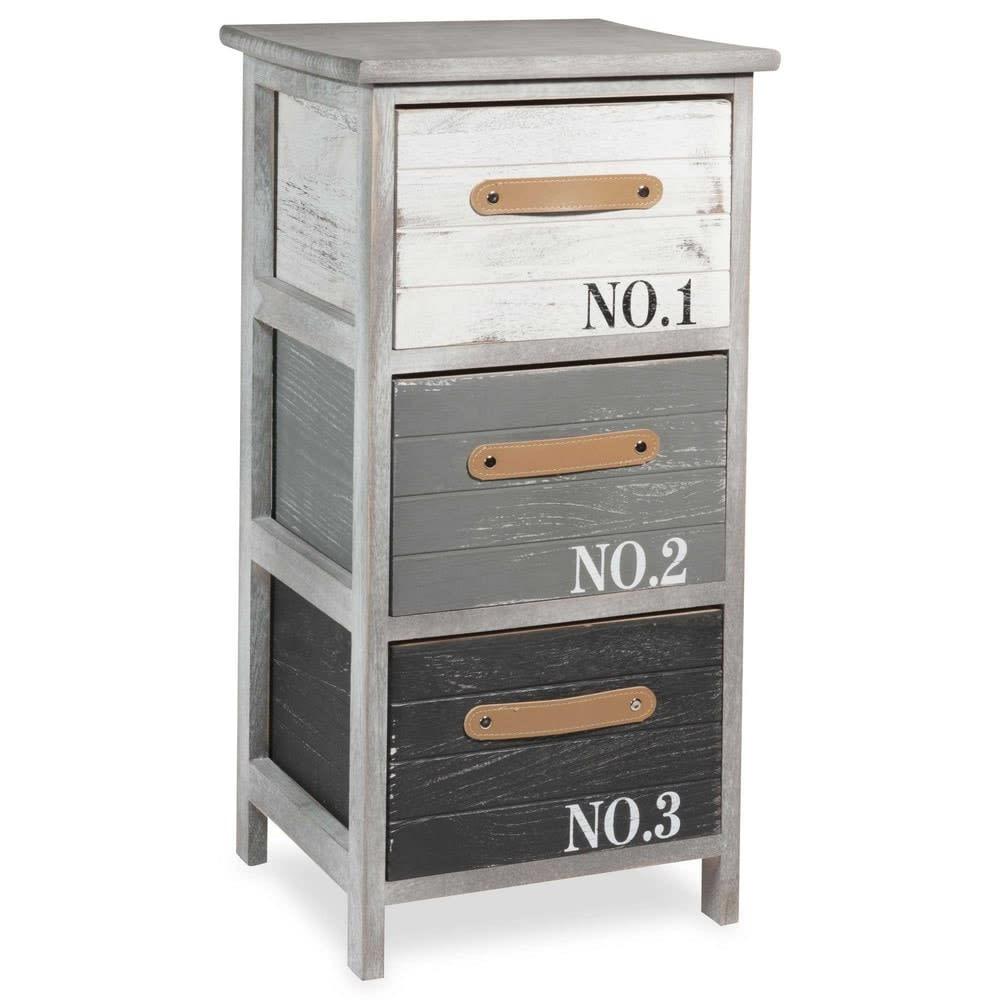 Petit meuble de rangement en paulownia gris imprim sauzon maisons du monde - Meuble de rangement gris ...