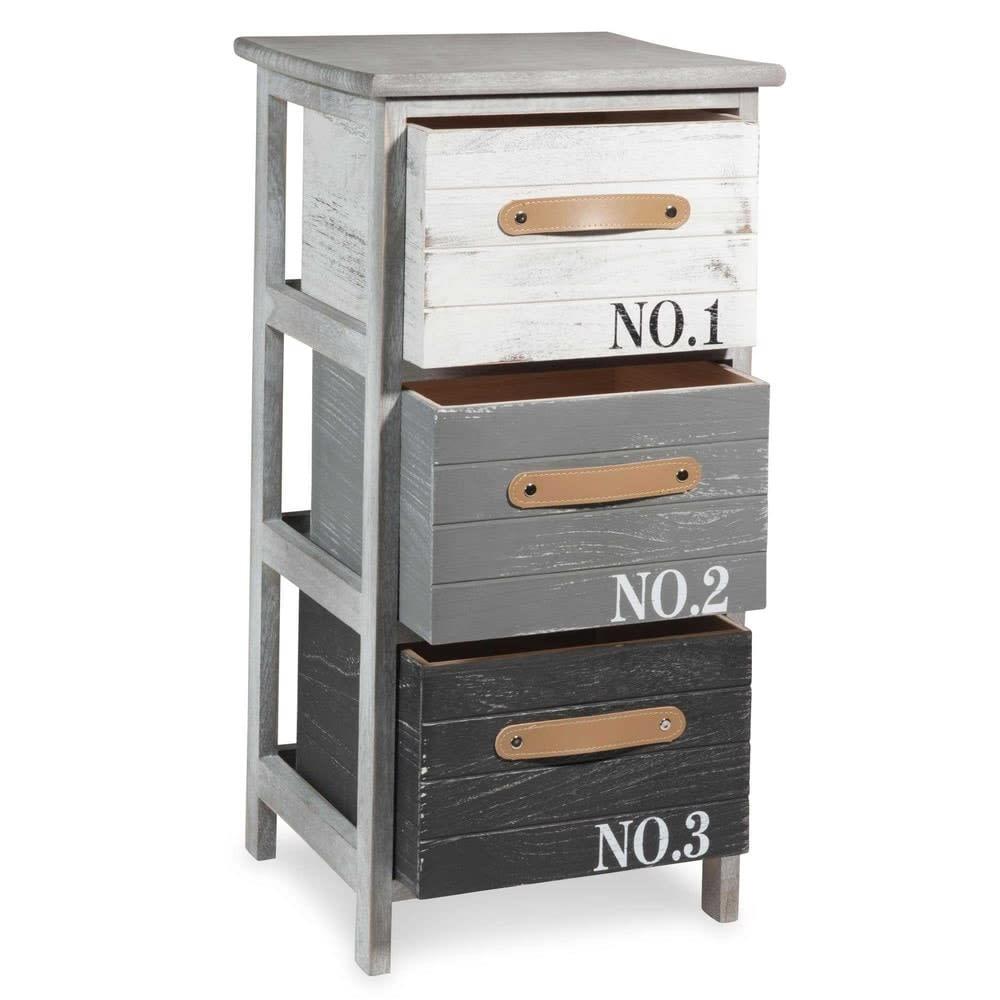 petit meuble de rangement en paulownia gris imprim sauzon. Black Bedroom Furniture Sets. Home Design Ideas