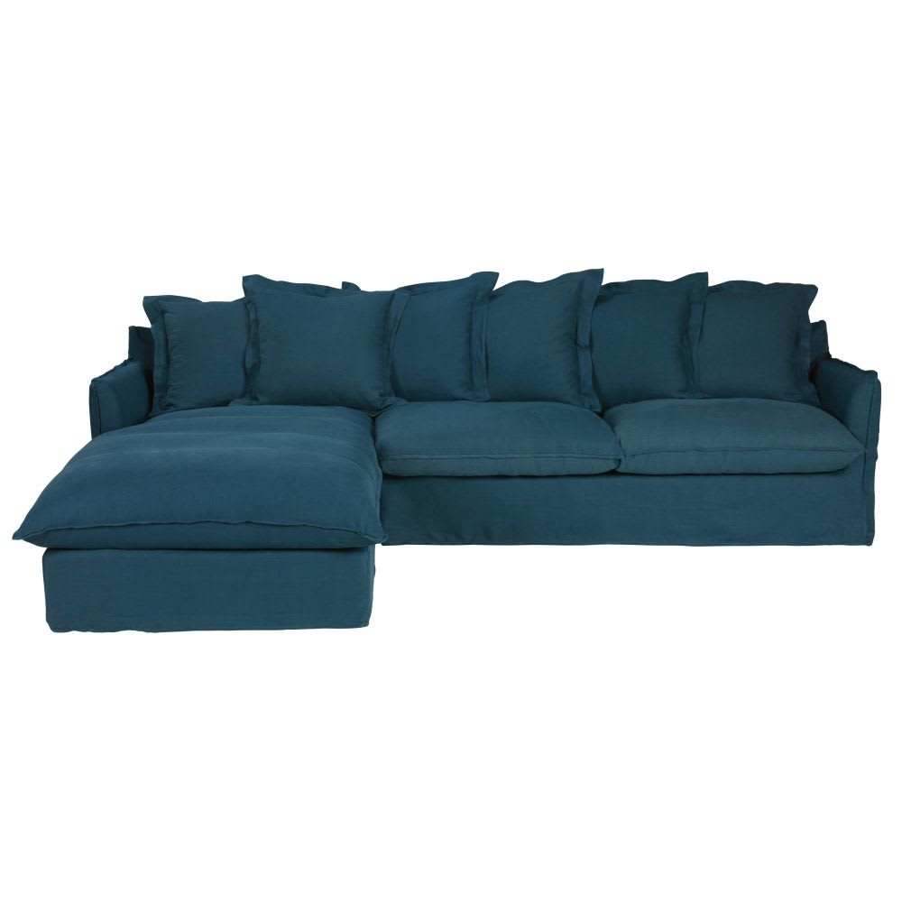 Petrol Blue 6 Seater Washed Linen Left Hand Corner Sofa Bed