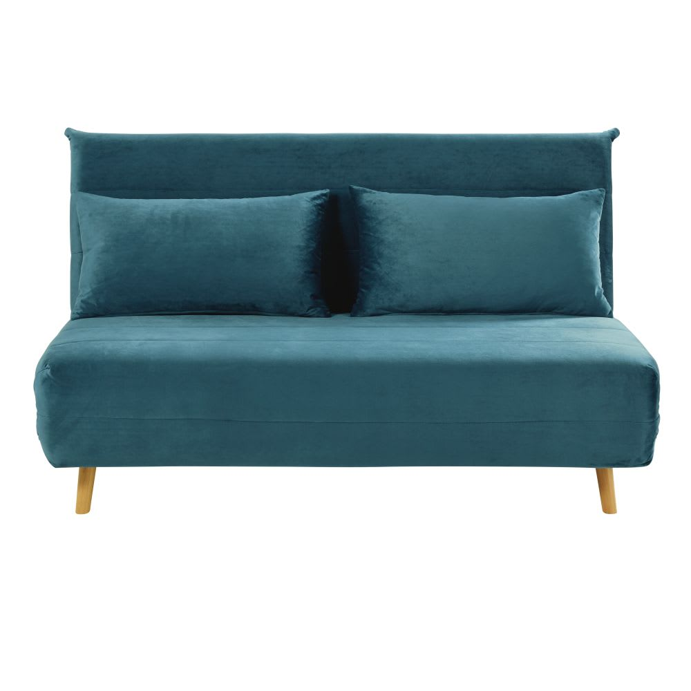 Petrol Blue Double Velvet Day Bed Sofa Nio Maisons Du Monde