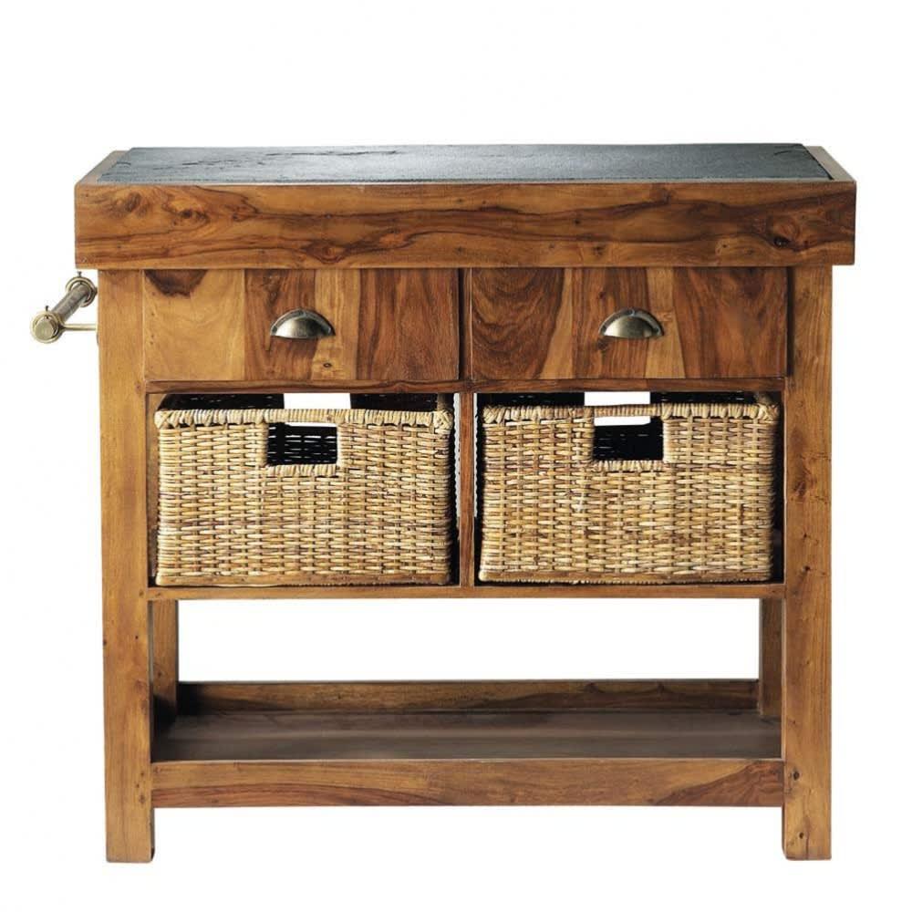Piano d\'appoggio in massello di legno di sheesham e ardesia L 95 cm ...