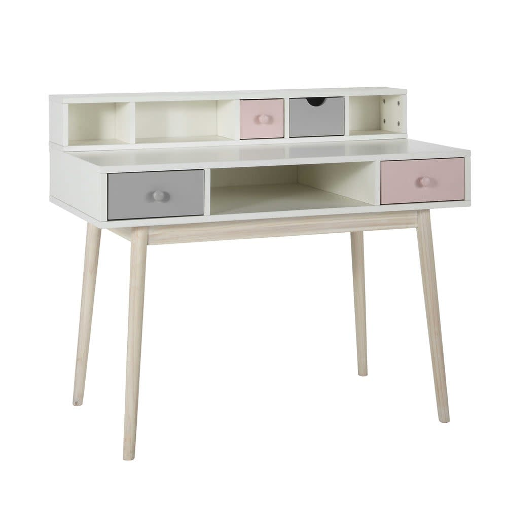 pink and grey 2 drawer desk storage module blush maisons du monde