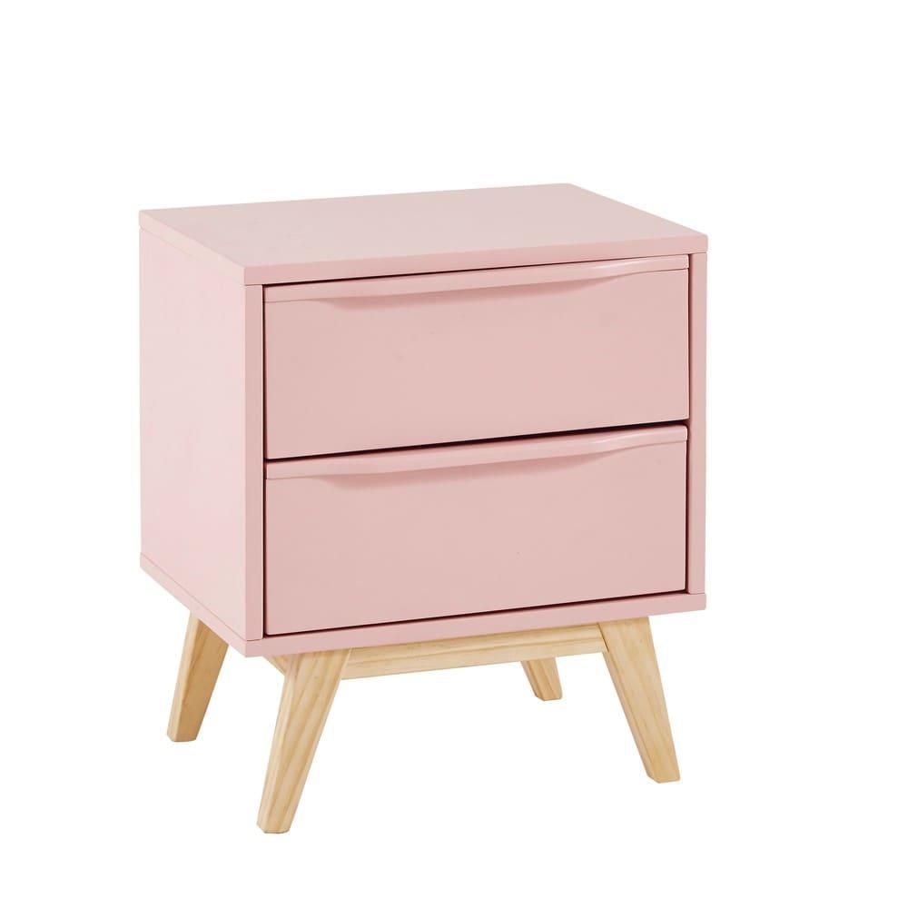 Pink Vintage 2 Drawer Bedside Table Bucolique