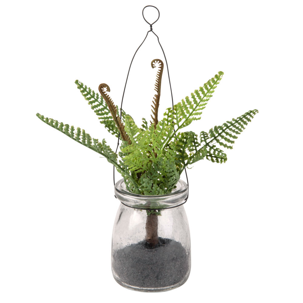 plante artificielle foug re et bocal en verre suspendre. Black Bedroom Furniture Sets. Home Design Ideas