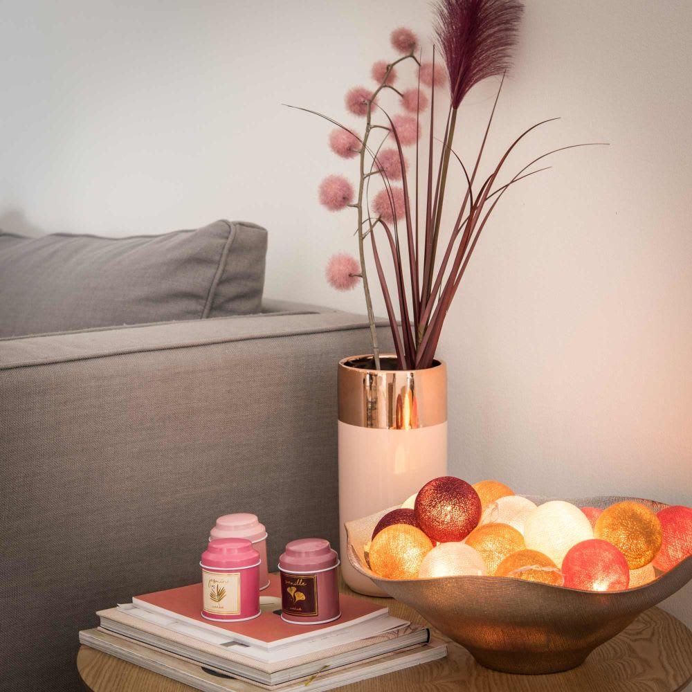 plat d coratif en verre stri beige ros maisons du monde. Black Bedroom Furniture Sets. Home Design Ideas