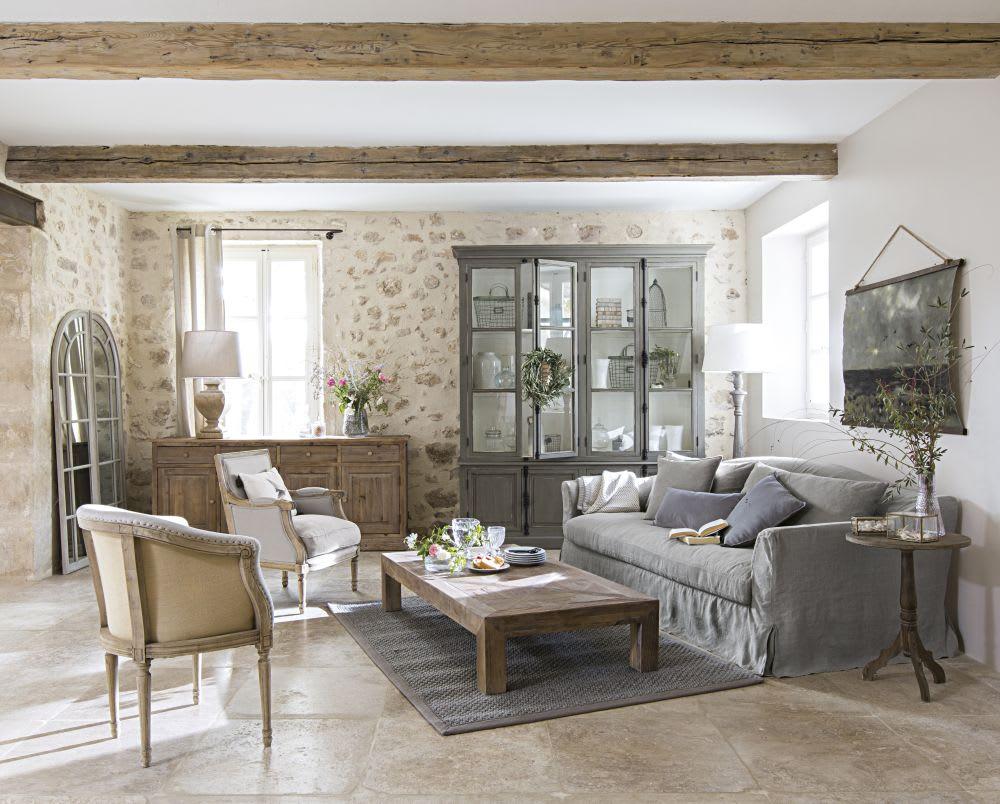 Poltrona in lino lavato grigio chiaro casanova maisons du monde