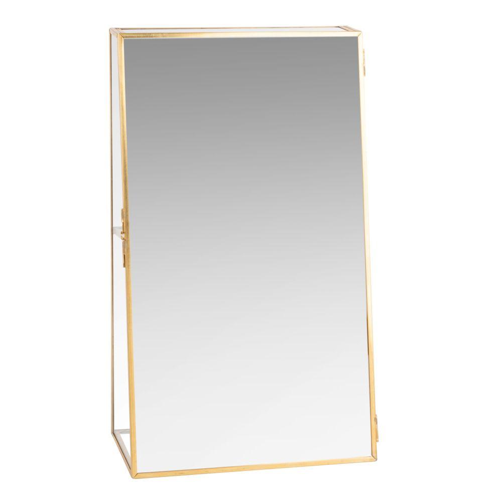 Porte-bijoux en métal doré et miroir Glassy | Maisons du Monde