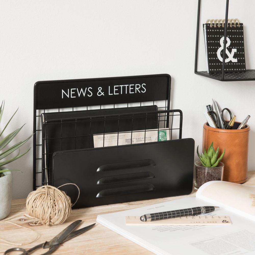 Porte courrier indus en m tal noir news letters maisons du monde - Porte courrier ...