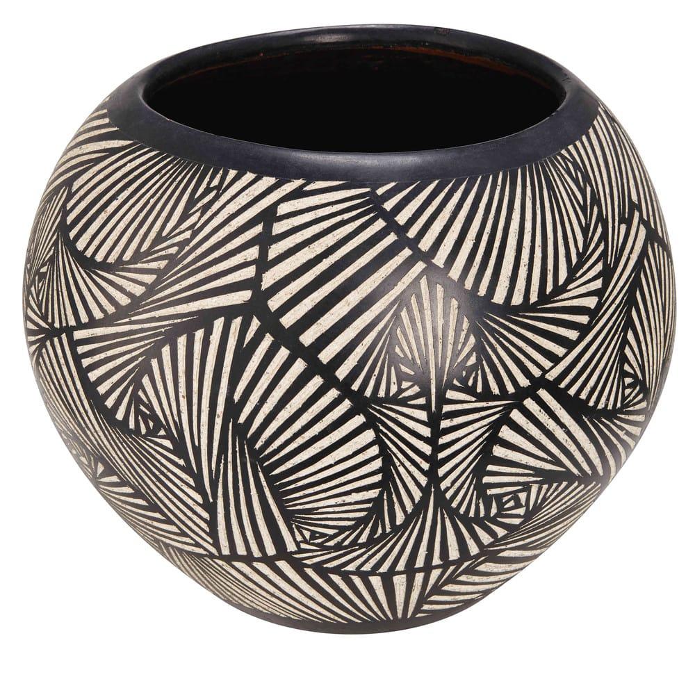 bamako - pot de jardin en terre cuite motifs noirs et blancs h.38cm