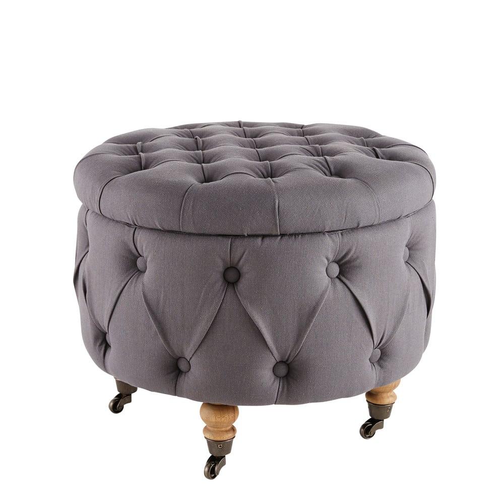 pouf coffre roulettes en lin gris lisette maisons du monde. Black Bedroom Furniture Sets. Home Design Ideas