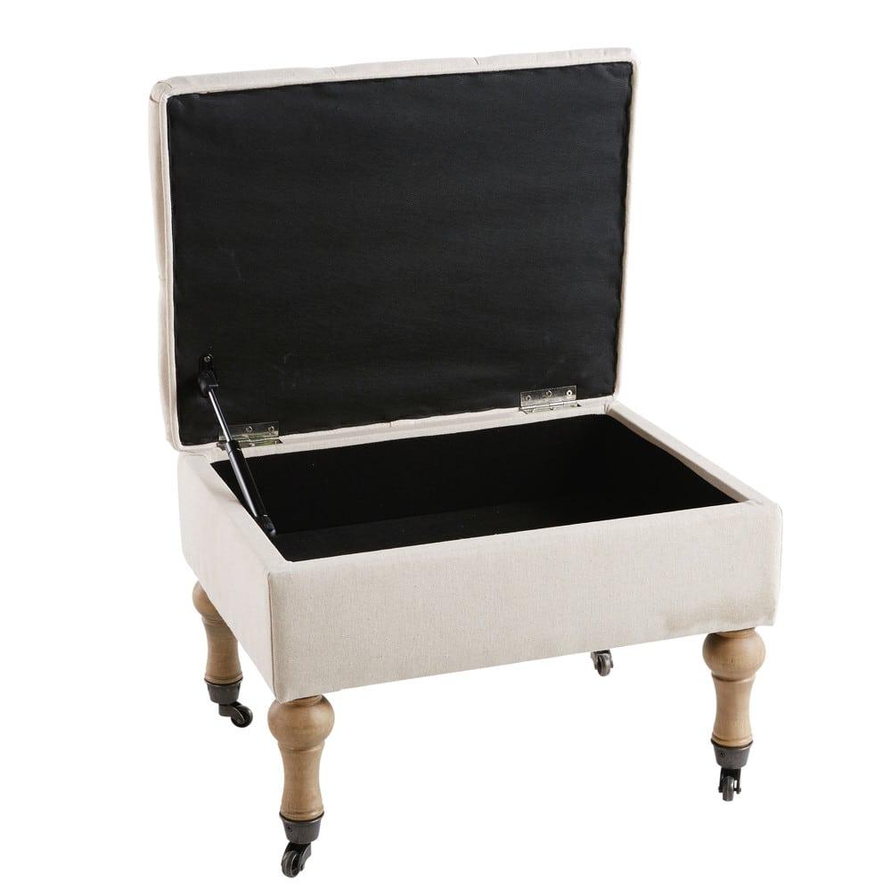 pouf coffre capitonn roulettes en lin cru aristide. Black Bedroom Furniture Sets. Home Design Ideas
