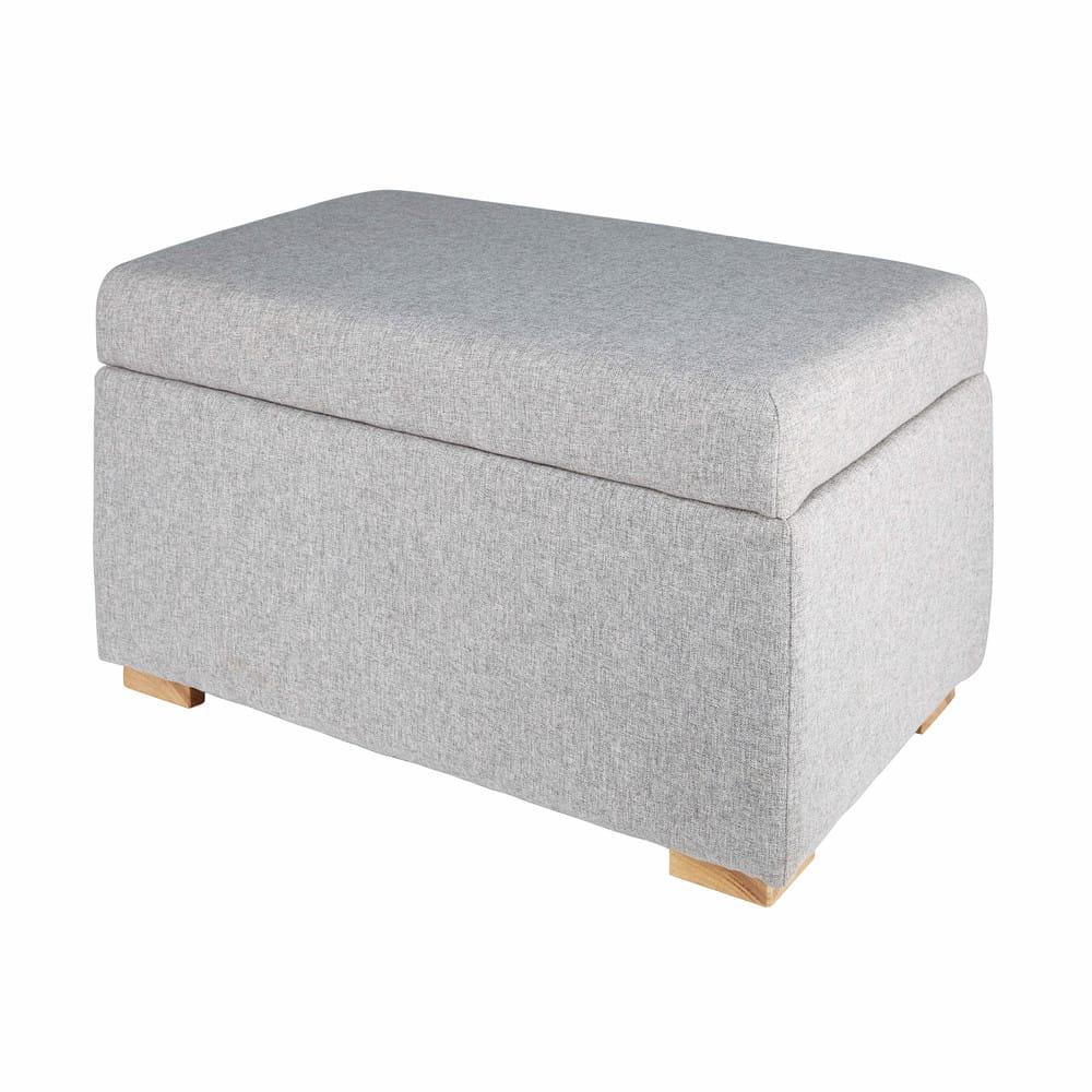 pouf coffre en coton gris lena maisons du monde. Black Bedroom Furniture Sets. Home Design Ideas