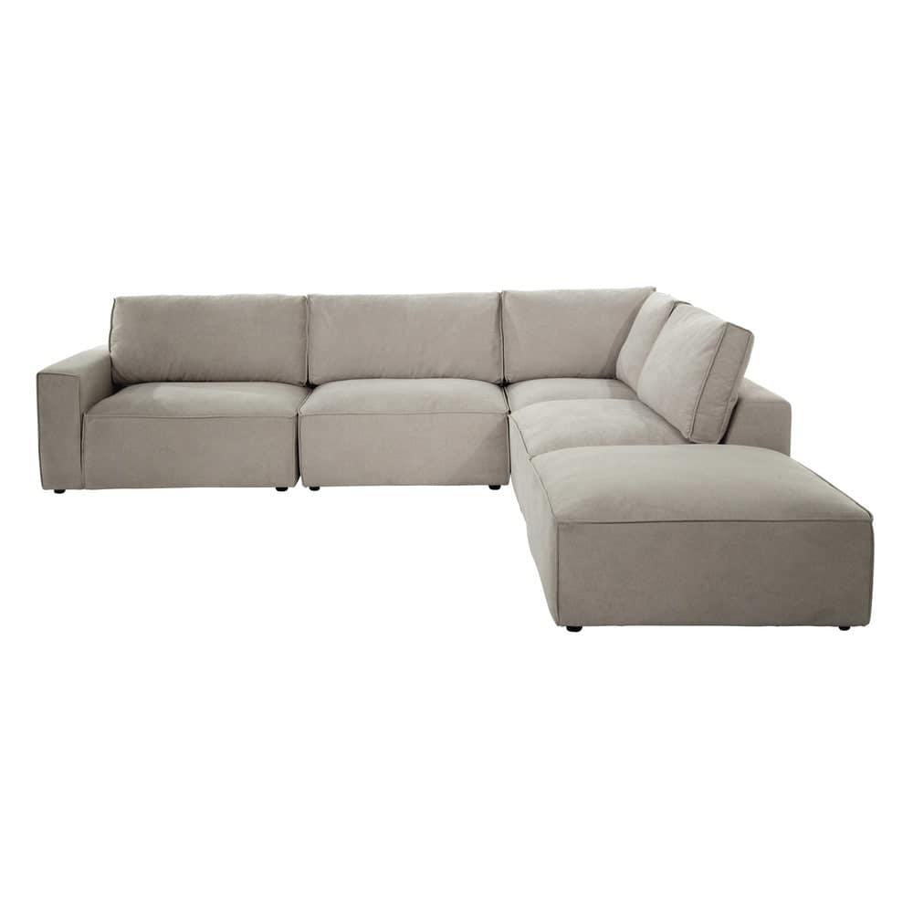 pouf de canap modulable en tissu beige malo maisons du monde. Black Bedroom Furniture Sets. Home Design Ideas