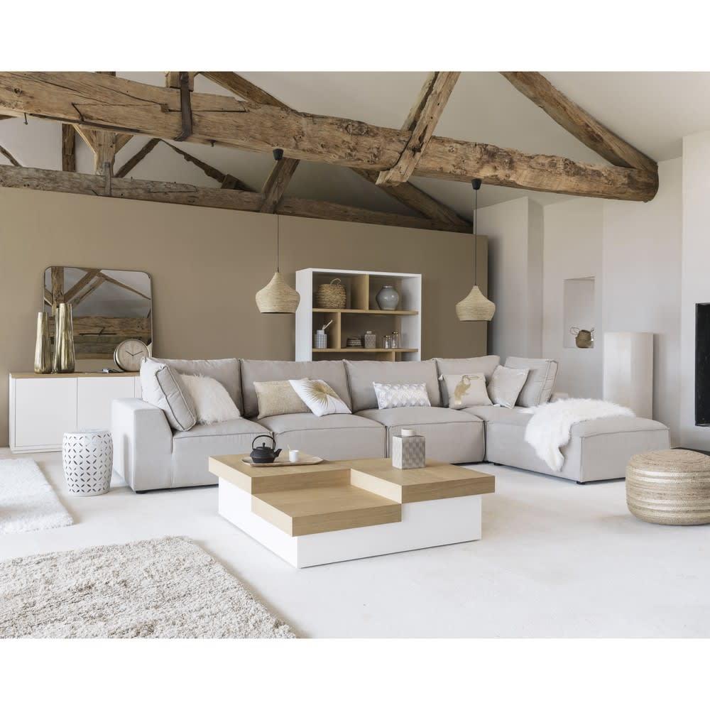 pouf de canap modulable en tissu beige malo maisons du. Black Bedroom Furniture Sets. Home Design Ideas