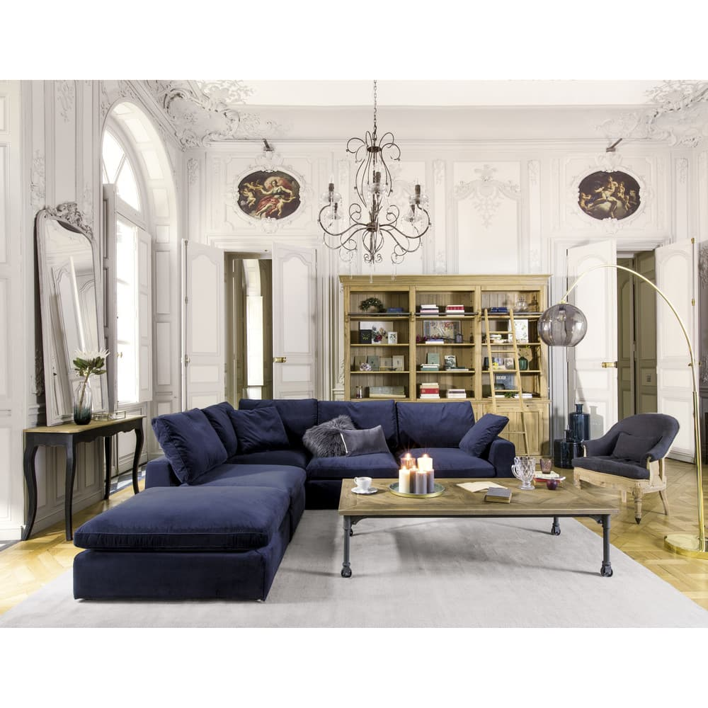 pouf de canap modulable en velours bleu nuit midnight. Black Bedroom Furniture Sets. Home Design Ideas