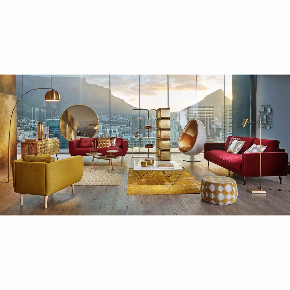 pouf jacquard de velours moutarde et beige space maisons du monde. Black Bedroom Furniture Sets. Home Design Ideas