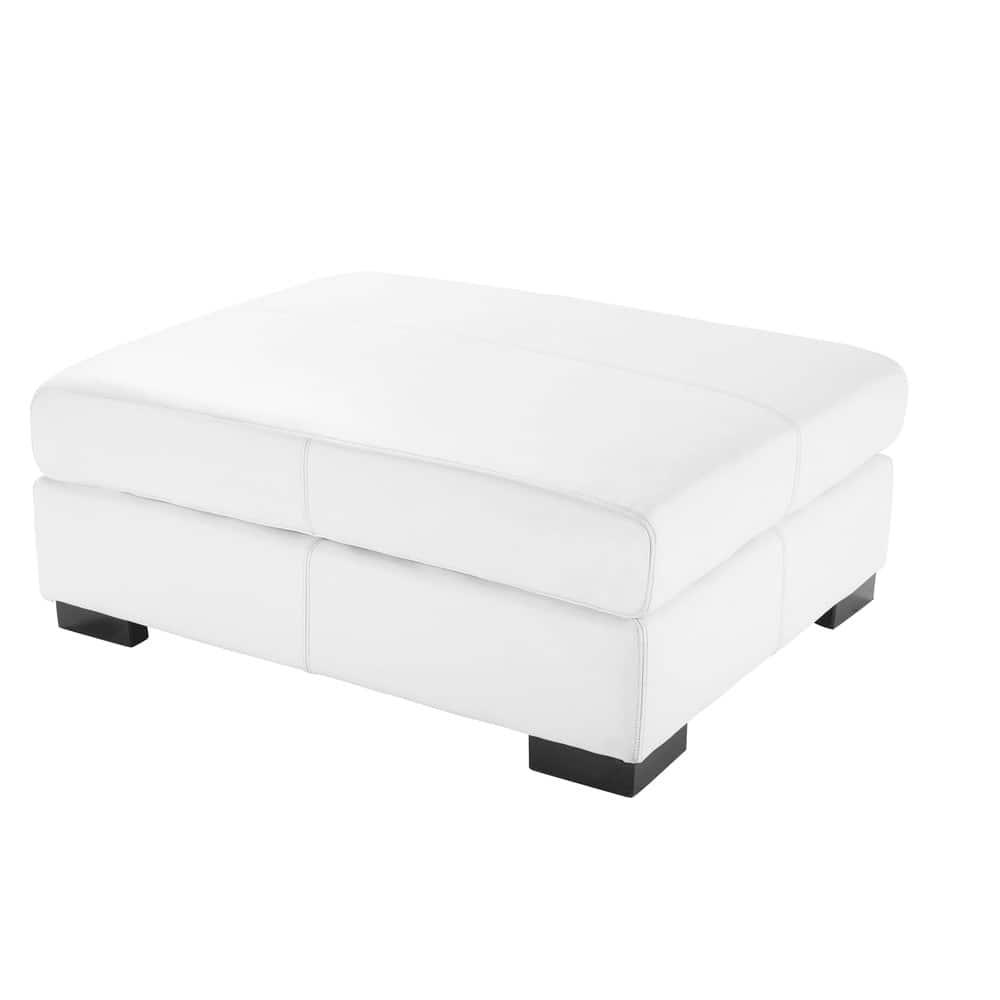 Pouf per divano bianco modulabile in cuoio Terence | Maisons du Monde