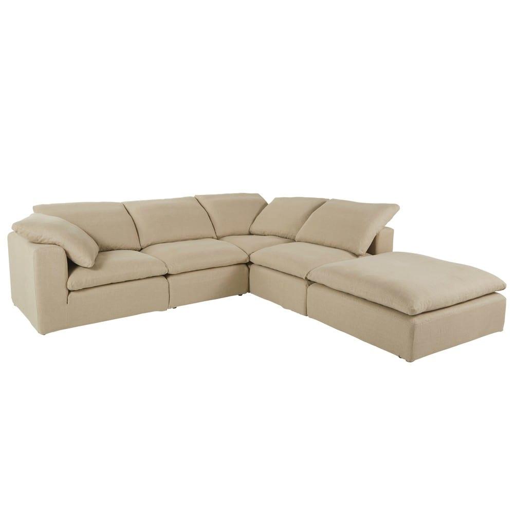 Pouf per divano componibile in lino lavato beige Ava | Maisons du Monde
