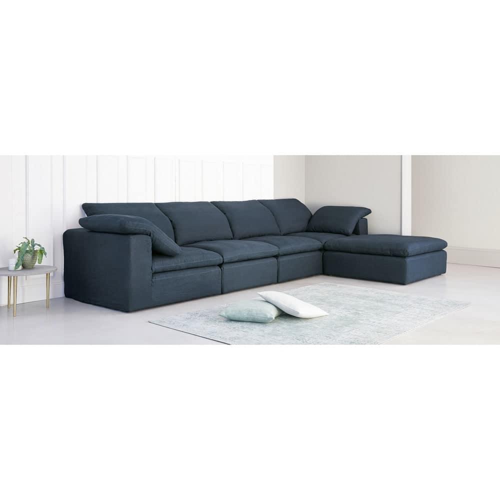 Pouf per divano componibile in lino lavato indaco Ava | Maisons du Monde