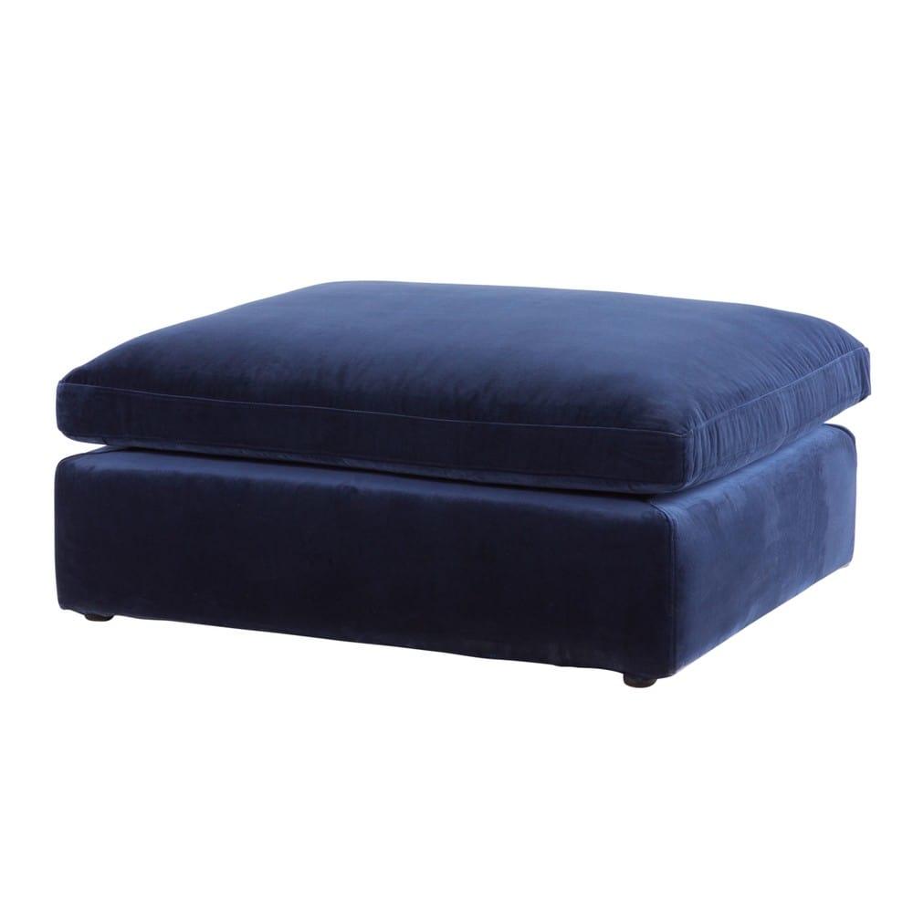 Pouf per divano componibile in velluto blu notte Midnight | Maisons ...